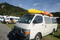 Toyota Hiace long wheel base with double kayak on the roof
